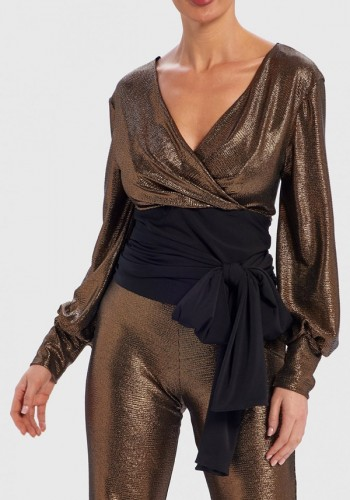 METALLIC GOLD LONG SLEEVE TOP FOREVER UNIQUE