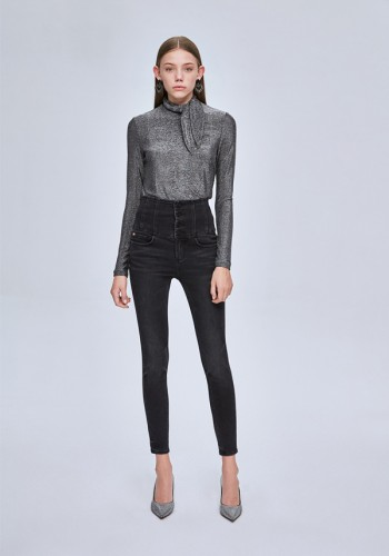 JEAN HIGH WASTE WITH A BODICE BLACK MISS SIXTY